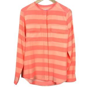 Equipment Femme Coral Striped Button-Down Blouse